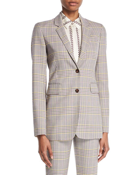 Sophie Single-Breasted Plaid Wool Sportswear Blazer in Gray