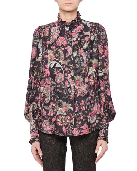 Isabel Marant Mock-Neck Long-Sleeve Jacquard Print Silk-Blend Top