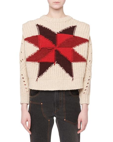 Isabel Marant Nordic Crewneck Star Intarsia Boxy Wool-Mohair