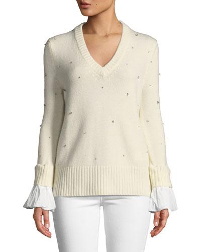 Cashmere Crystal V-Neck Flare-Sleeve Sweater