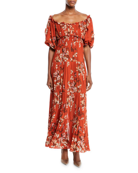 Viajes Del Alma Off-the-Shoulder Short-Sleeve Floral-Print Silk Georgette Pleated Gown