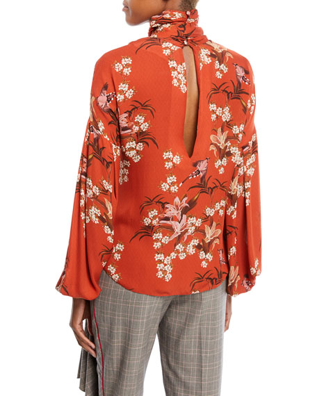 La Recoleta Tie-Neck Long-Sleeve Floral-Print Silk Georgette Blouse