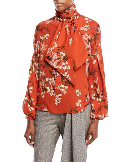 Johanna Ortiz La Recoleta Tie-Neck Long-Sleeve Floral-Print Silk