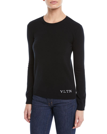 Crewneck Long-Sleeve Cashmere Pullover Sweater w/ VLTN on Bottom