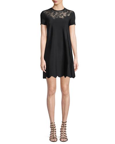 Short-Sleeve Crewneck A-Line Knit Cocktail Dress w/ Lace Inset