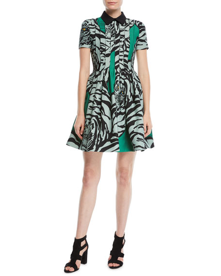 Short-Sleeve Pintucked Pleated Tiger-Print Crepe Couture Dress
