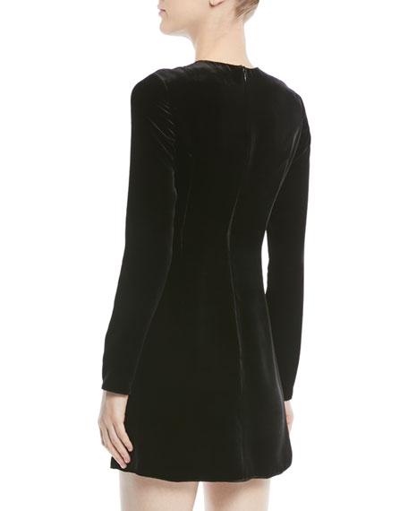 Long-Sleeve Velvet Cocktail Dress w/ Embellished Snake