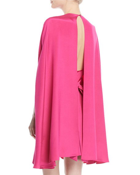 Silk Cady Cocktail Dress w/ Ruched Waist & Cape