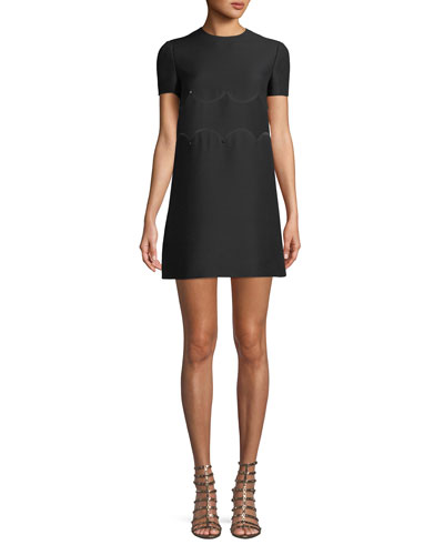 Short-Sleeve Crepe-Couture A-Line Dress w/ Rockstud Waist