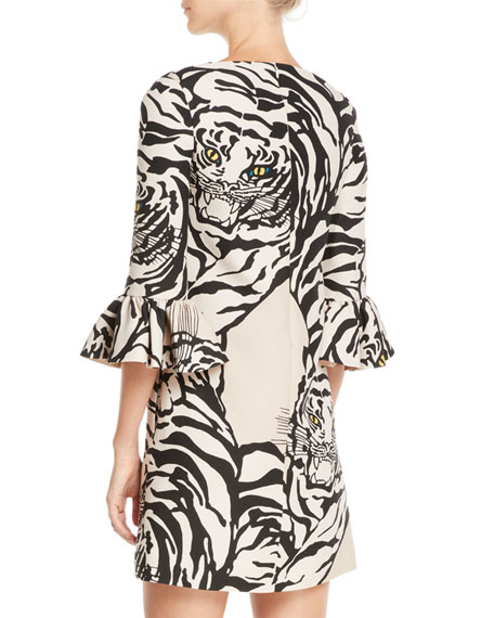 Jewel-Neck 3/4-Sleeve Tiger-Print Crepe Cocktail Dress