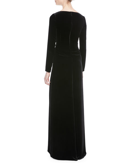 Long-Sleeve Velvet Gown w/ Embellished Snake