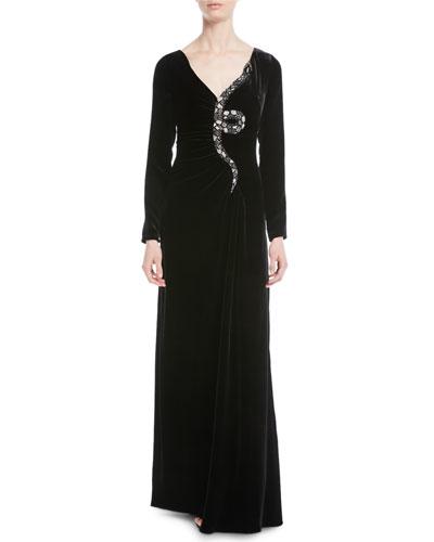 Long-Sleeve Velvet Gown w/ Embellished Snake