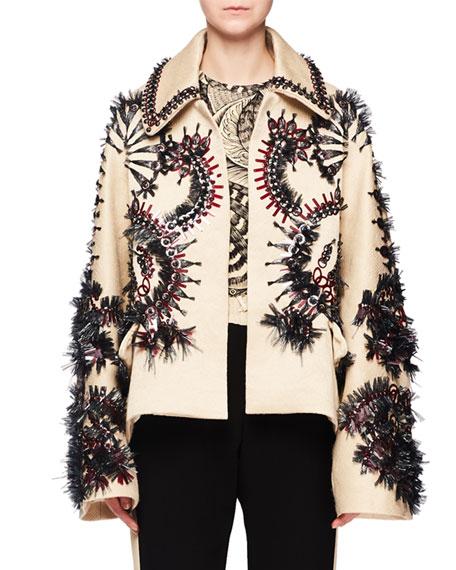 Raffia Embroidered Wool-Blend Jacket