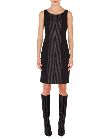 Scoop-Neck Sleeveless Herringbone Leather-Stripe Sheath Dress