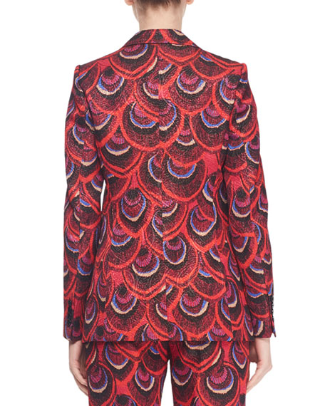 Single-Breasted Two-Button Peacock-Jacquard Blazer