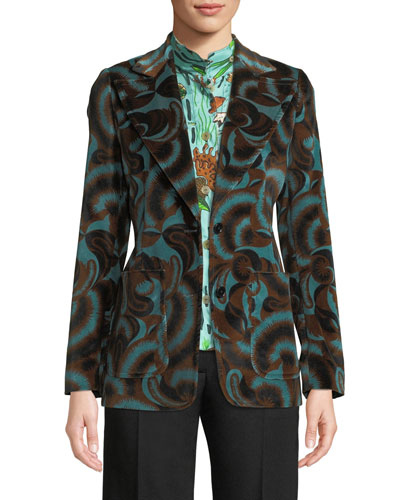 Two-Button Abstract Floral-Print Velvet Jacket