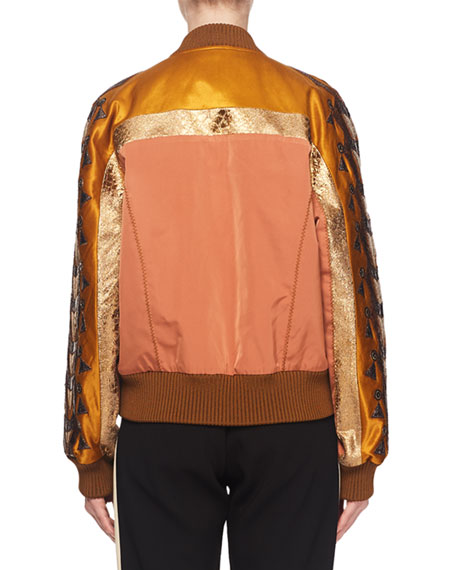 Fil-Coupe Embroidered Fitted Bomber Jacket