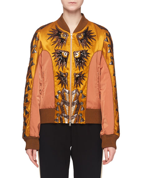 Dries Van Noten Fil-Coupe Embroidered Fitted Bomber Jacket