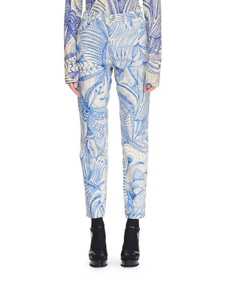 High-Rise Skinny Printed Ankle Pants