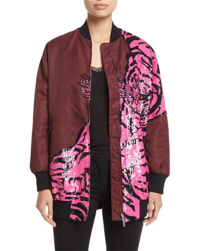Tiger Paillette-Embroidered Oversized Nylon Bomber Jacket