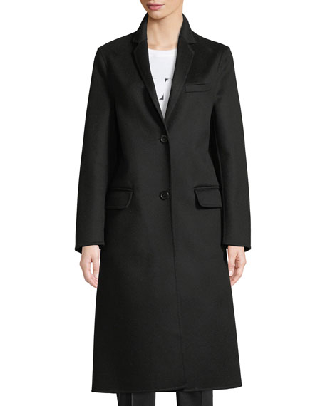 VLTN Back Logo Two-Button Wool-Cashmere Coat