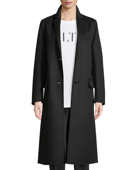 Vltn Back Logo Two-Button Wool-Cashmere Coat in Black