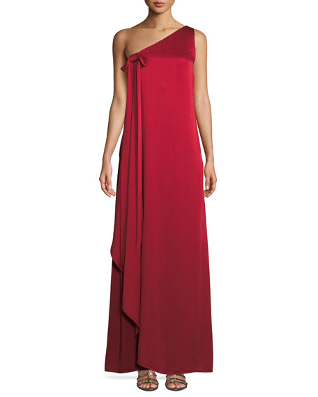 One-Shoulder Hammered Satin Gown w/ Draped Front