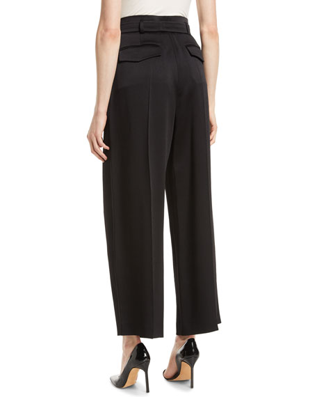 Hammered Satin Wide-Leg Fluid Pants w/ Self Belt