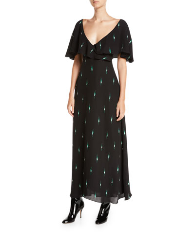 Short-Sleeve Leaf-Print Long Silk Georgette Dress