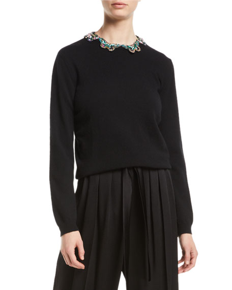 Long-Sleeve Wool-Silk Sweater w/ Embroidered Butterfly Neck