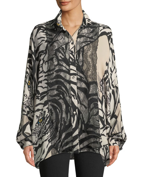 Long-Sleeve Button-Front Tiger-Print Georgette Blouse w/ Lace Detail