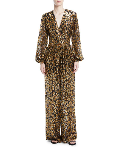 Long-Sleeve Flocked Velvet Animalier Jumpsuit