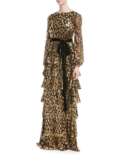 Long-Sleeve Tiered Velvet Animalier Gown w/ Belt