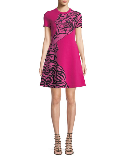 Short-Sleeve Tiger-Jacquard A-Line Mini Dress