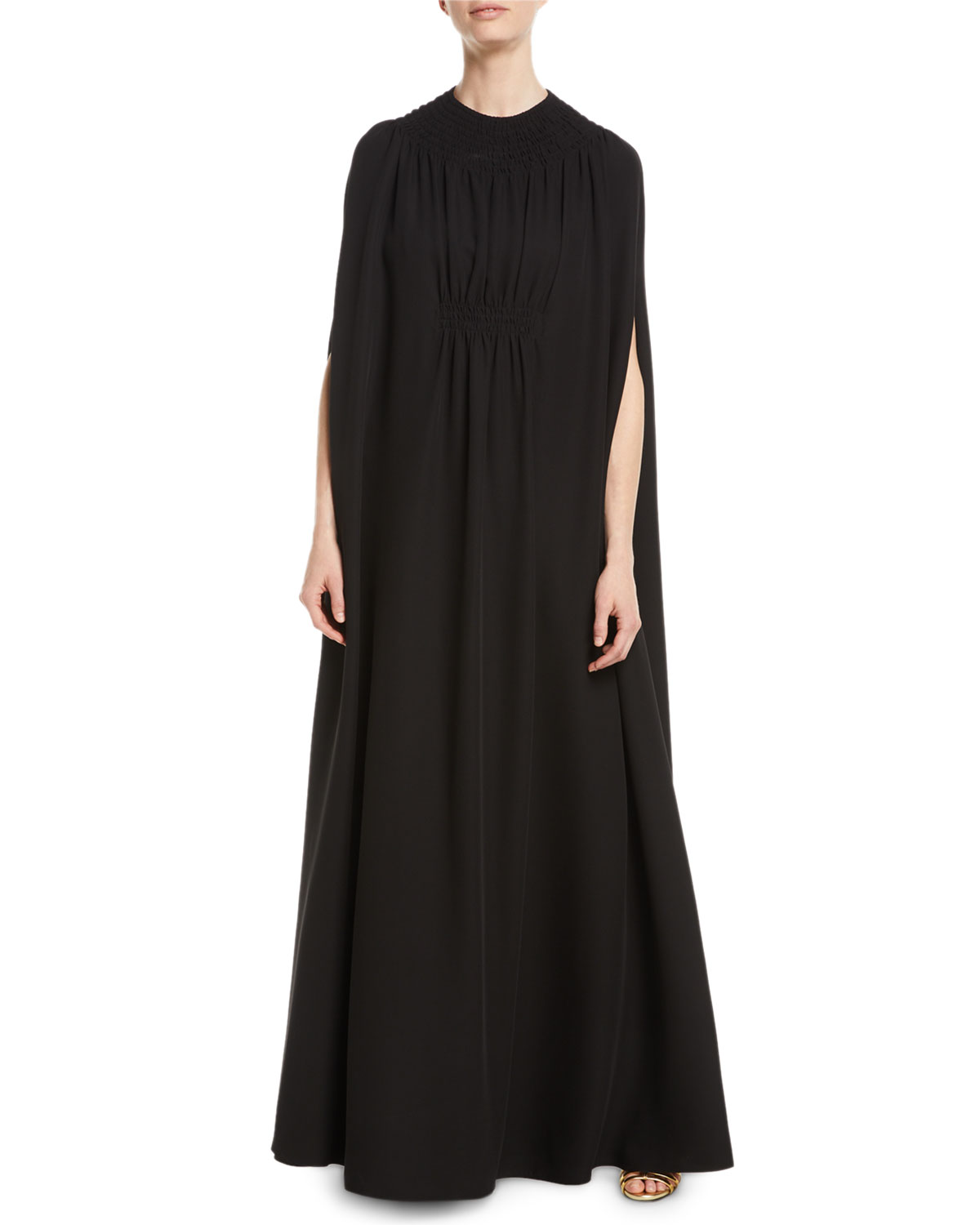 Valentino V-Neck Silk Cady Couture Slip Evening Gown with Cape ...
