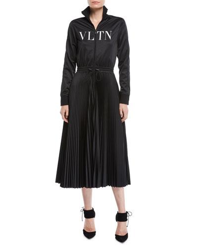 Long-Sleeve Zip-Front Jersey VLTN-Logo Plisse Bottom Mid-Calf Dress