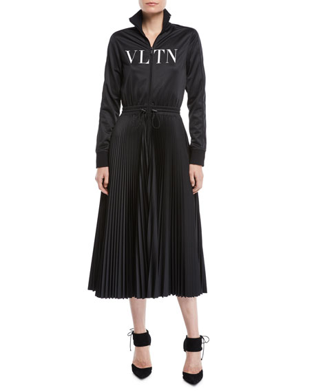 Valentino Long-Sleeve Zip-Front Jersey VLTN-Logo Plisse Bottom