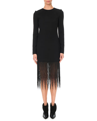 Long-Sleeve Crewneck Sheath Wool Crepe Cocktail Dress w/ Fringe Hem
