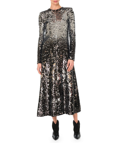 Givenchy Long-Sleeve A-Line Sequined Embroidered Long Cocktail