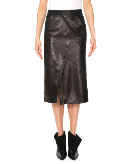 Givenchy Geometric Seamed Sheep Leather Midi Skirt