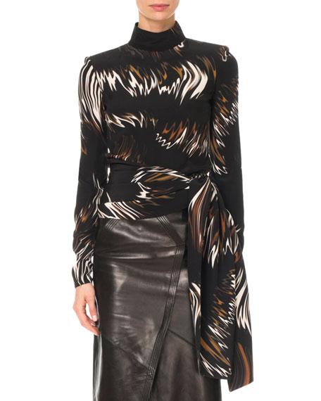 Givenchy Mock-Neck Long-Sleeve Wave-Print Blouse w/ Side Sash