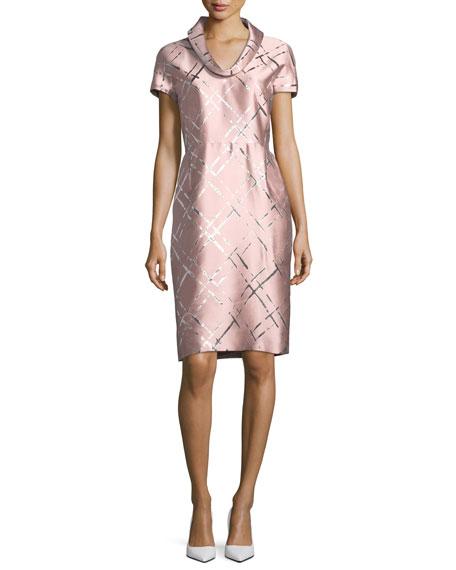 Broken Plaid Jacquard Roll-Neck Dress