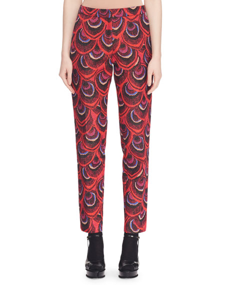 Peacock-Jacquard Slim Straight-Leg Pants