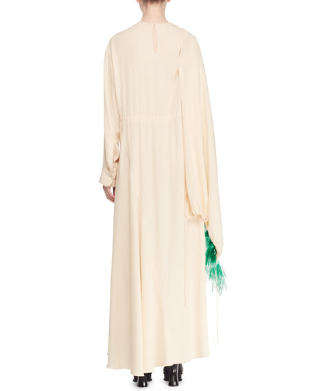 Long-Sleeve Drawstring  Feather Long Dress