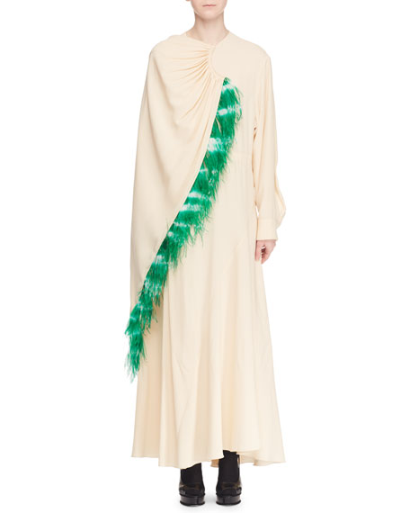 Dries Van Noten Long-Sleeve Drawstring Feather Long Dress
