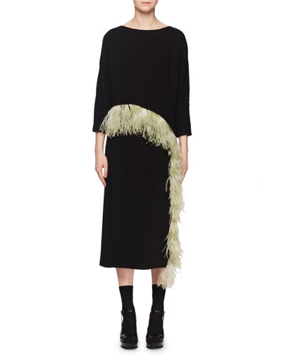 Boat-Neck 3/4-Sleeve Crepe Cocktail Dress w/ Ostrich Feathers