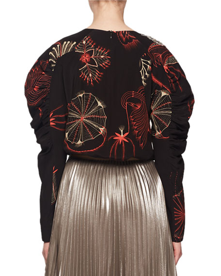 Long-Sleeve Sequin-Embroidered Silk Top