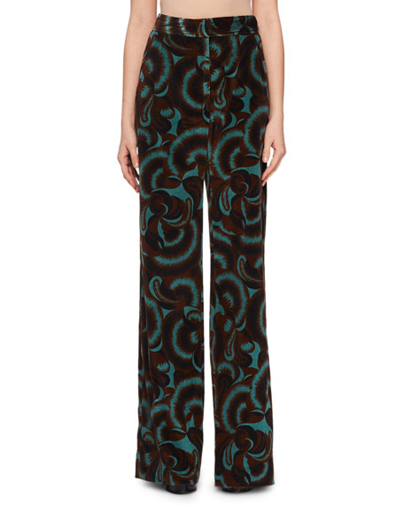 Panter Abstract Floral-Print Velvet Straight-Leg Pants