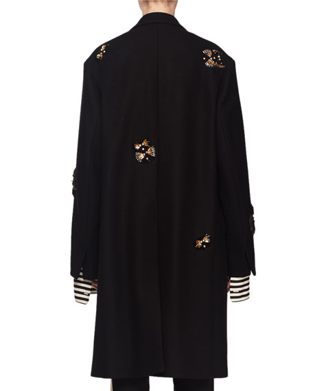 Single-Breasted Embellished Wool-Blend Coat