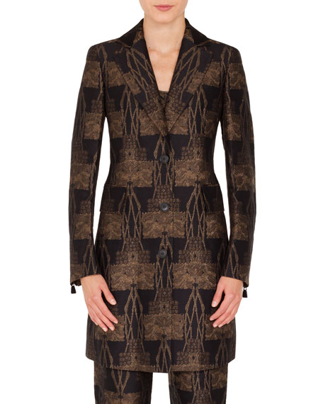 Todd Button-Front Fruit of Vienna Metallic-Jacquard Coat